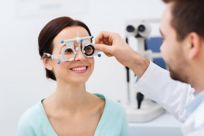 Eye exam at Gerstein Eye Institute